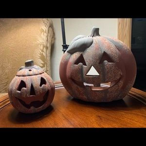 Accents - Two carved clay pumpkins
